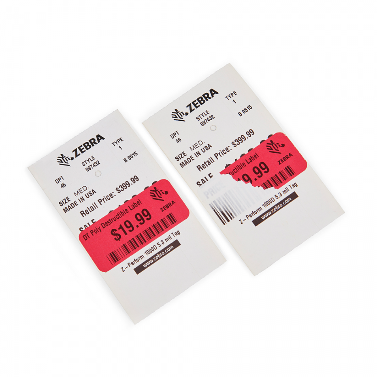 Printing supplies for tags and destructible labels